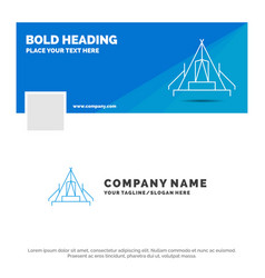 Blue business logo template for tent camping camp vector