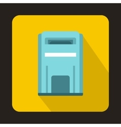 Blue square post box icon flat style vector