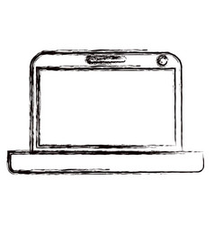 Blurred thick contour modern laptop tech vector