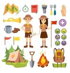 Boy scouts and camping set vector