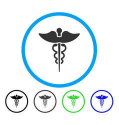 Caduceus rounded icon vector