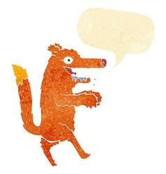 Cartoon hungry fox with speech bubble vector