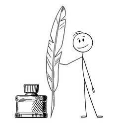Cartoon man or writer or poet with quill pen vector
