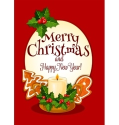 Christmas candle cartoon greeting card design vector