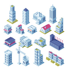 City buildings 3d isometric projection for map vector