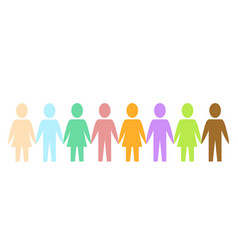 Colored silhouette paper people as community on vector