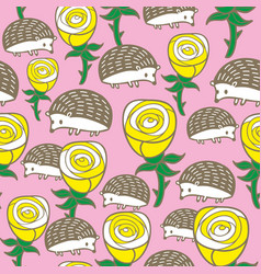 Colorful seamless pattern with roses and hedgehogs vector