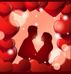 couple embracing over beautiful valentine day vector image