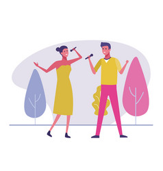 couple singing outdoors vector image
