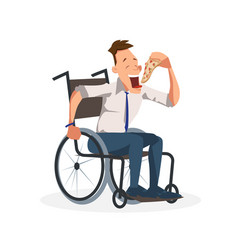 Coworker sit in wheelchair with slice of pizza vector