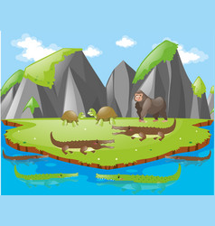 Crocodiles and other animals on island vector