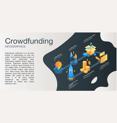 Crowdfunding idea concept banner isometric style vector