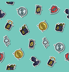 cryptocurrency icons pattern vector image