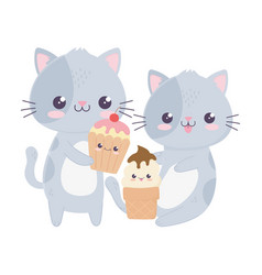Cute little cats with ice cream and cupcake kawaii vector