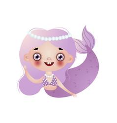 cute smiling mermaid girl with violet long wavy vector image