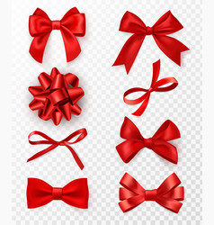 decorative bows realistic red silk ribbons vector image