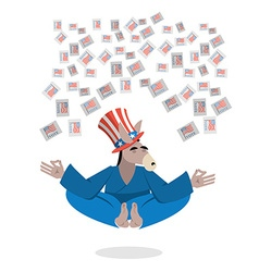 Democrat Donkey hat Uncle Sam meditating votes in vector image