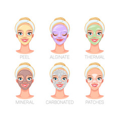 Different skincare mask types vector