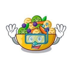 Diving cartoon bowl healthy fresh fruit salad vector
