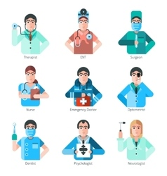 Doctor Character Icons Set vector