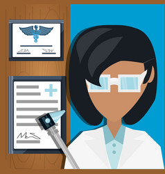 Doctor with otoscope and medical diplomas vector