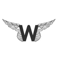 elegant dynamic letter w with wings linear design vector image