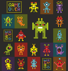 Endless wallpaper with pixel art retro style vector