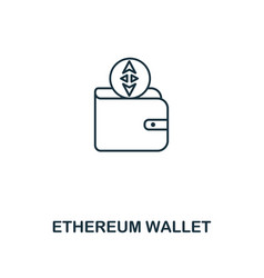 ethereum wallet outline icon monochrome style vector image