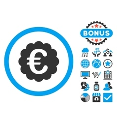 Euro Quality Seal Flat Icon with Bonus vector image
