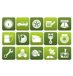 Flat car parts services and characteristics icons vector image