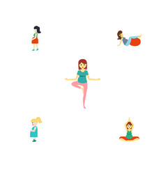 flat icon pregnant set of sport pregnant woman vector image