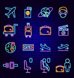 Flight plane neon icons vector
