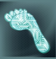 footprint in the form of technological circuit vector image