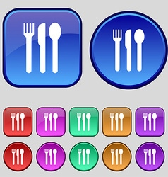 fork knife spoon icon sign A set of twelve vintage vector image