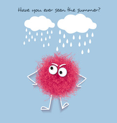 funny summer banner with fluffy pink creature vector image
