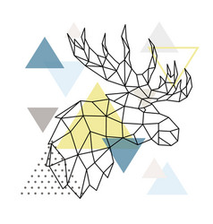 geometric moose silhouette on triangle background vector image