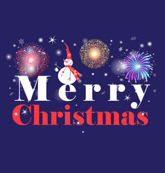 greeting christmas card with an inscription and a vector image
