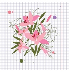Greeting hand-drawn lily floral vector