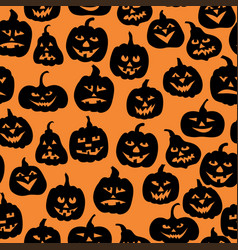 halloween funny horror pumpkin pattern seamless vector image