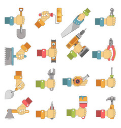 hands holding repair carpentry work tools vector image