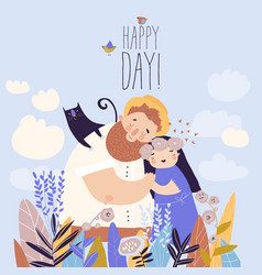 happy couple staying in a field flowers vector image