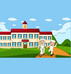 happy muslim student with school background vector image