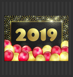 Happy new year christmas card gold red balloons vector