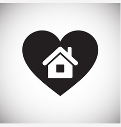 Heart home icon on white background for graphic vector