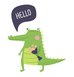 hello crocodile vector image