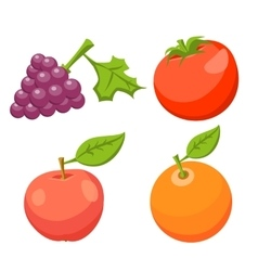 Icon set tomato apple orange grape vector