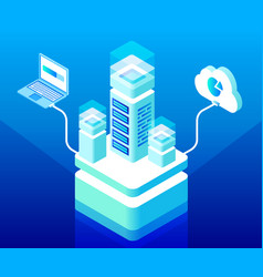 isometric cloud computing and data storage vector image
