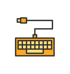 keyboard flat color line icon isolated vector image