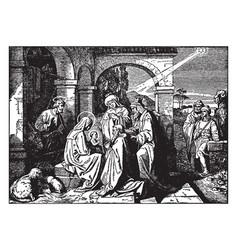 Kings from east worship bajesus vector