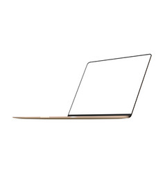 laptop gold mockup right perspective view vector image